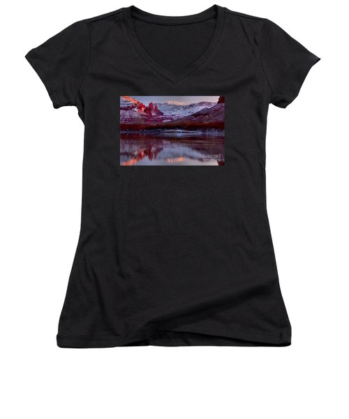 Women's V-Neck T-Shirt (Junior Cut) featuring the photograph Fisher Towers Landscape Glow by Adam Jewell