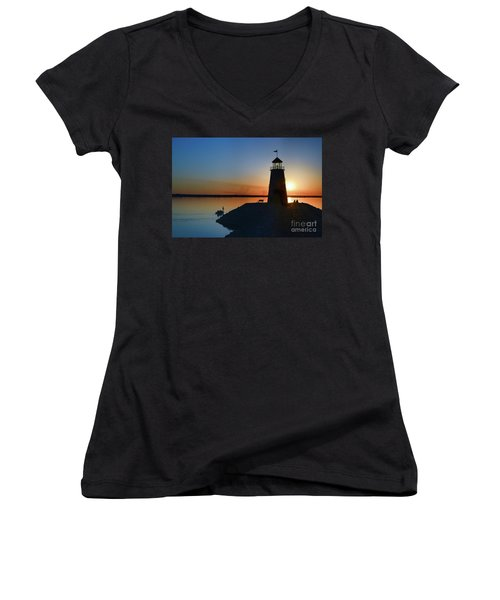 Fishing At The Lighthouse Women's V-Neck