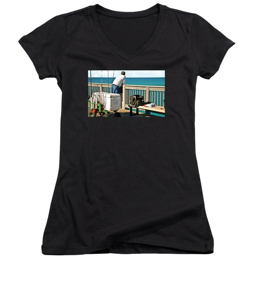 Fishing At The Pier Women's V-Neck (Athletic Fit)