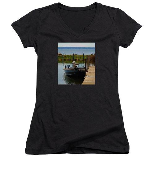 Women's V-Neck T-Shirt (Junior Cut) featuring the photograph Fishing Boat by Ramona Whiteaker