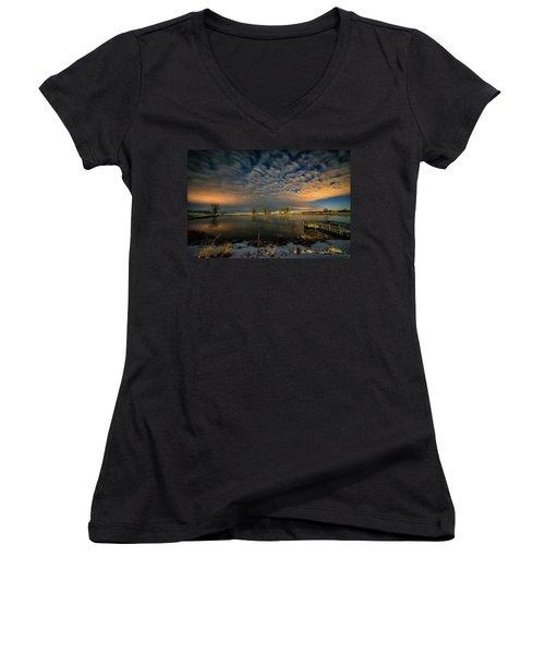 Fishing Hole At Night Women's V-Neck T-Shirt (Junior Cut) by Fiskr Larsen