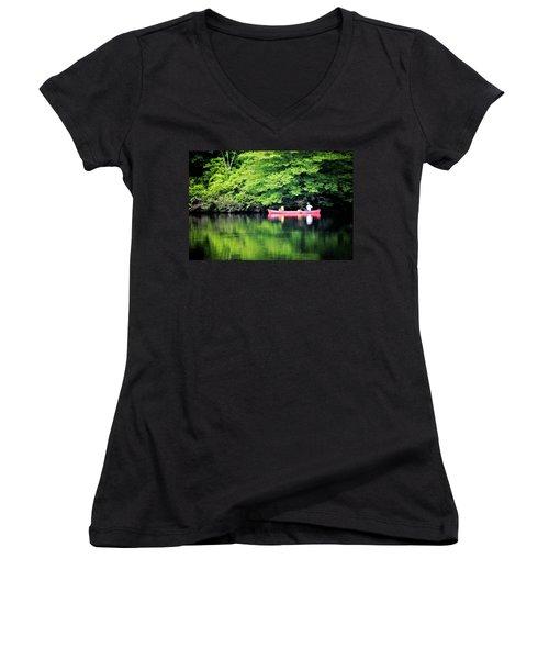 Fishing On Shady Women's V-Neck T-Shirt (Junior Cut)
