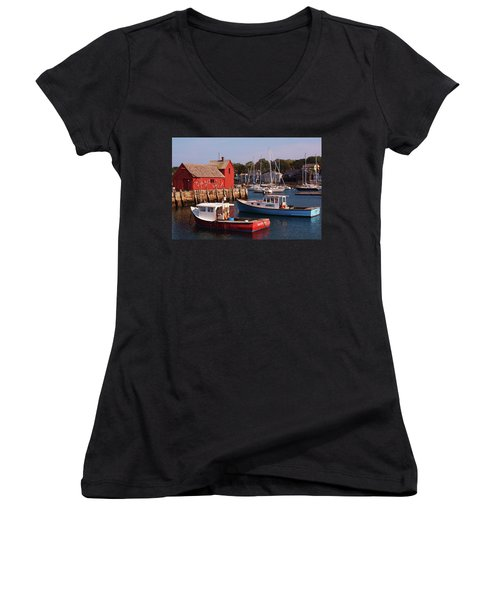 Women's V-Neck T-Shirt (Junior Cut) featuring the photograph Fishing Shack by John Scates