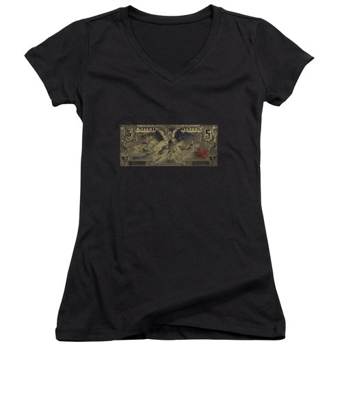Women's V-Neck T-Shirt (Junior Cut) featuring the digital art Five U.s. Dollar Bill - 1896 Educational Series In Gold On Black  by Serge Averbukh