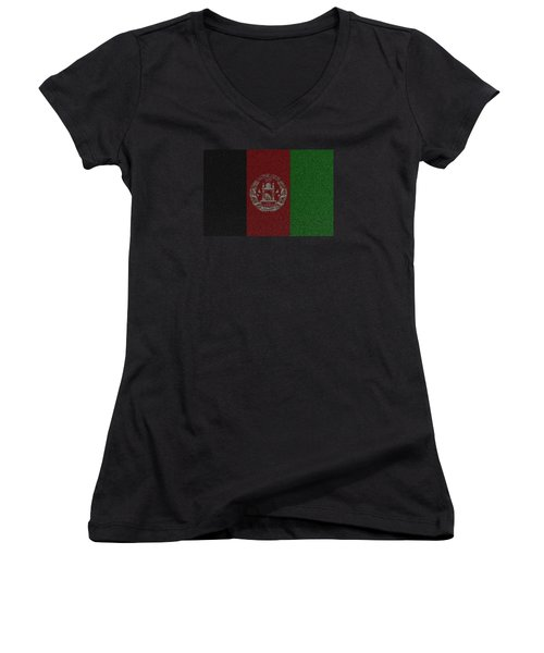 Women's V-Neck T-Shirt (Junior Cut) featuring the digital art Flag Of Afghanistan by Jeff Iverson