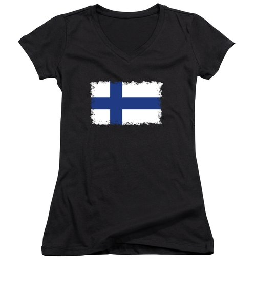 Flag Of Finland Women's V-Neck T-Shirt (Junior Cut) by Bruce Stanfield