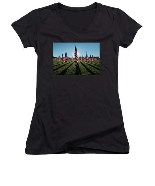 Flags Of Valor - 2016 Women's V-Neck T-Shirt (Junior Cut) by Rau Imaging