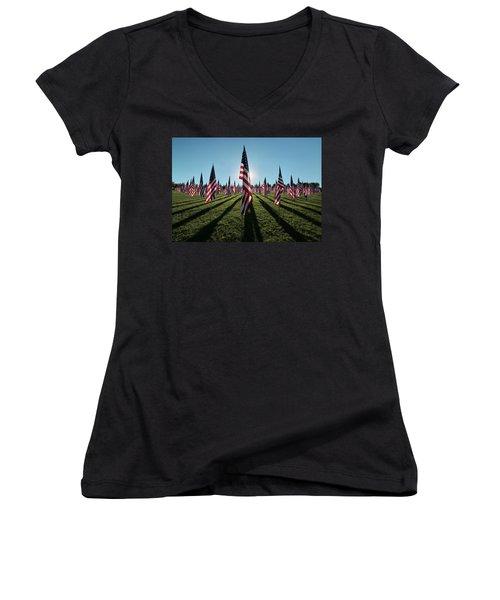 Flags Of Valor - 2016 Women's V-Neck T-Shirt