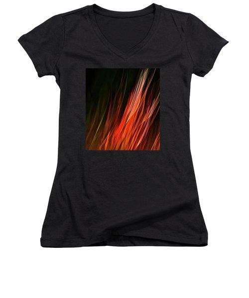 Flame Grass  Women's V-Neck T-Shirt (Junior Cut) by Theresa Tahara