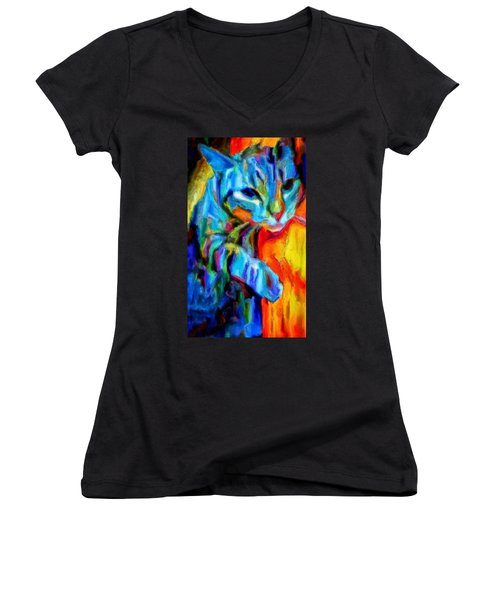 Women's V-Neck T-Shirt (Junior Cut) featuring the painting Flaming Blue And Orange Kitty Cat Tiger Resting Gently From The Prowl by MendyZ