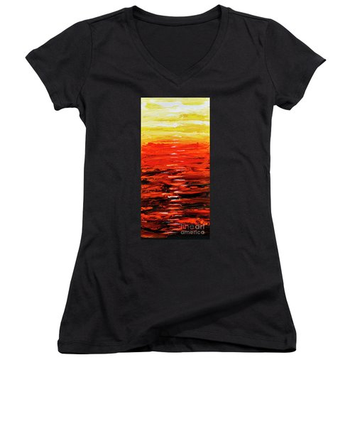 Flaming Sunset Abstract 205173 Women's V-Neck (Athletic Fit)