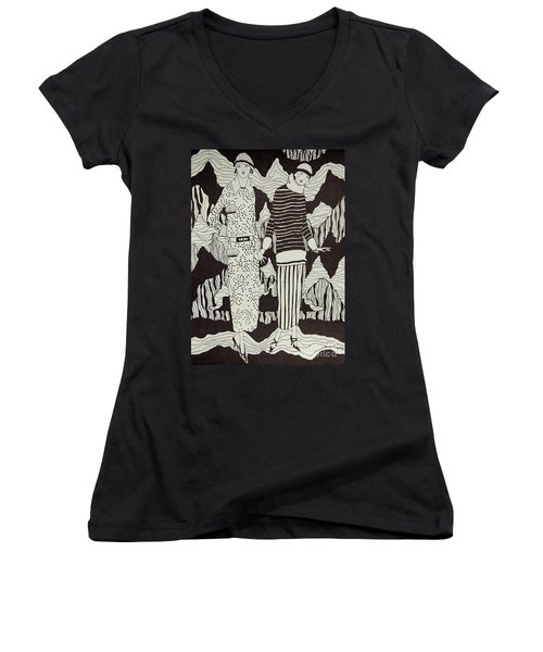 Women's V-Neck T-Shirt (Junior Cut) featuring the drawing Flapper Girls by Tamyra Crossley