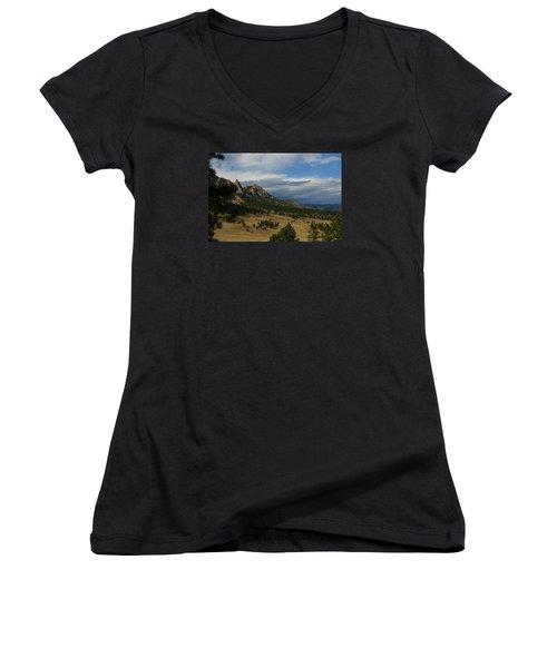 Flatirons, Boulder, Colorado Women's V-Neck T-Shirt (Junior Cut) by Christopher Kirby