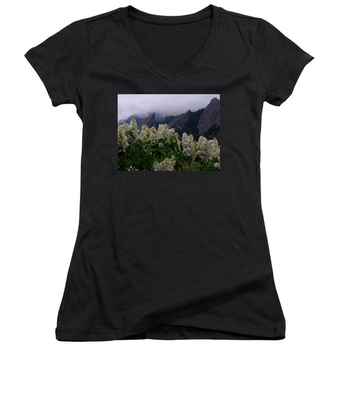Flatirons White Lilacs Women's V-Neck T-Shirt