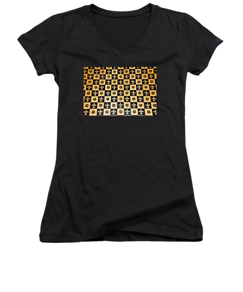 Fleur De Lis Floor Women's V-Neck T-Shirt (Junior Cut) by Eric Tressler