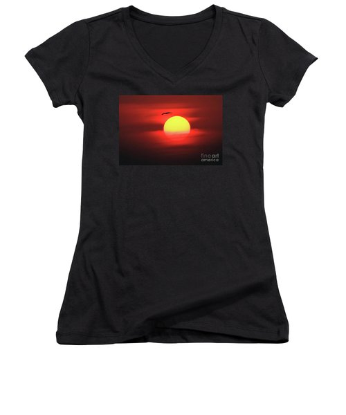 Flight To The Sun Women's V-Neck (Athletic Fit)