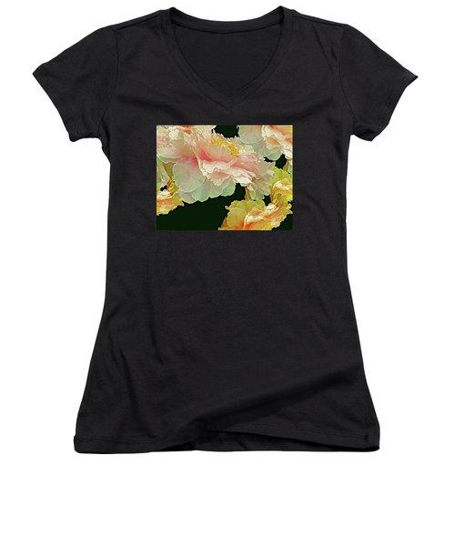 Floating Bouquet 31 Women's V-Neck T-Shirt (Junior Cut) by Lynda Lehmann