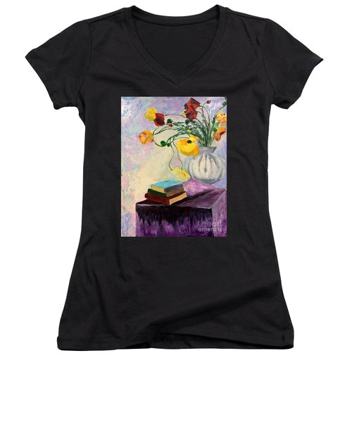Floral Abstract Women's V-Neck T-Shirt