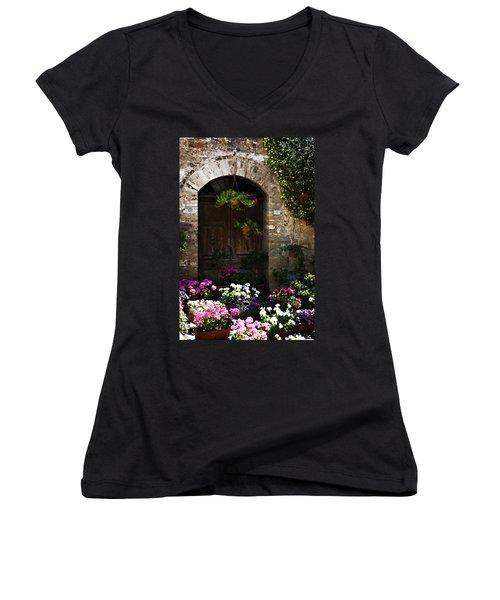 Floral Adorned Doorway Women's V-Neck T-Shirt