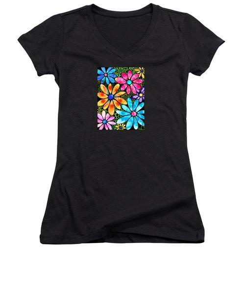 Floral Art - Big Flower Love - Sharon Cummings Women's V-Neck T-Shirt (Junior Cut) by Sharon Cummings