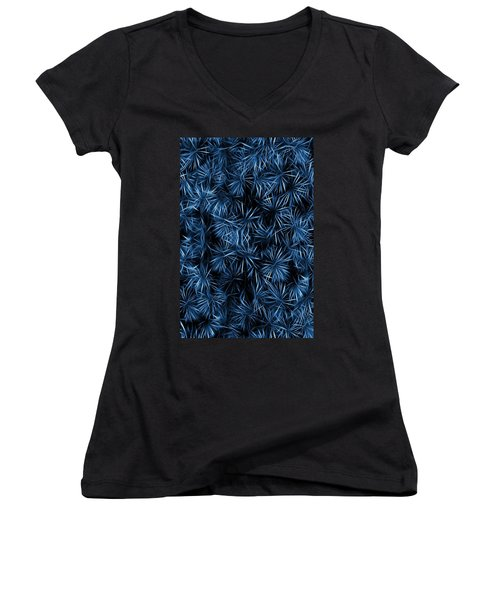 Women's V-Neck T-Shirt (Junior Cut) featuring the painting Floral Blue Abstract by David Dehner