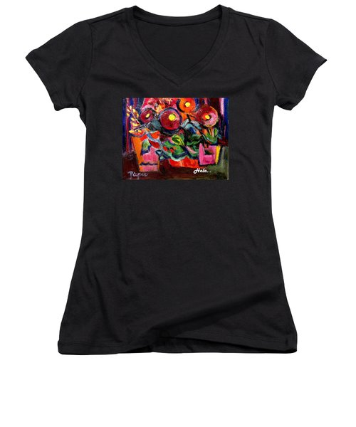 Floral Fiesta With Hola Women's V-Neck T-Shirt
