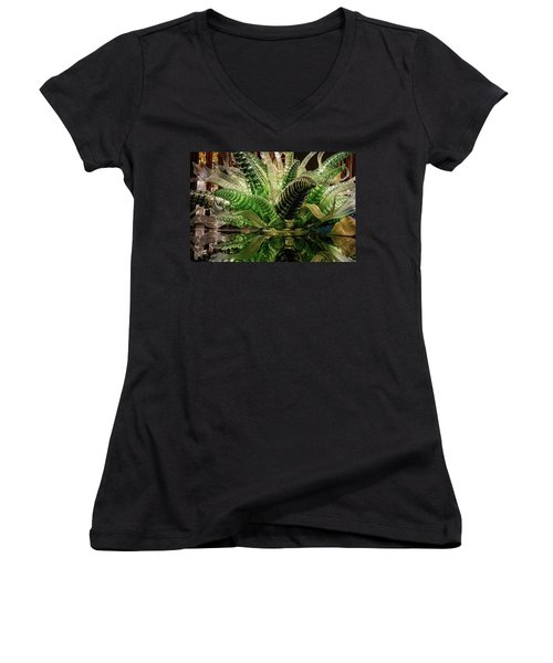 Floral In Glass Women's V-Neck (Athletic Fit)