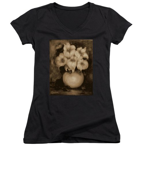 Floral Puffs In Brown Women's V-Neck