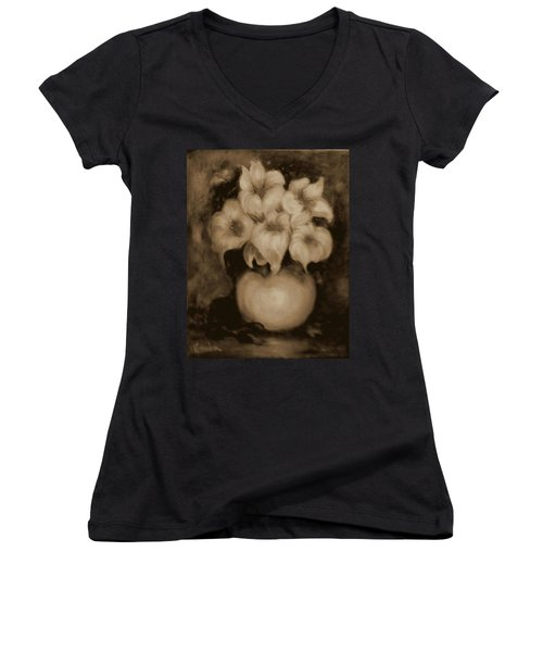 Floral Puffs In Brown Women's V-Neck (Athletic Fit)