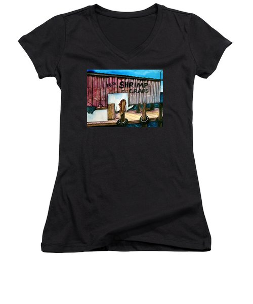 Women's V-Neck T-Shirt (Junior Cut) featuring the painting Florida Fresh by Lil Taylor