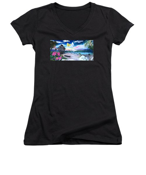 Women's V-Neck T-Shirt (Junior Cut) featuring the painting Florida Room by Dawn Harrell