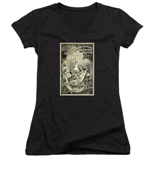 Women's V-Neck (Athletic Fit) featuring the digital art Florida Water by ReInVintaged