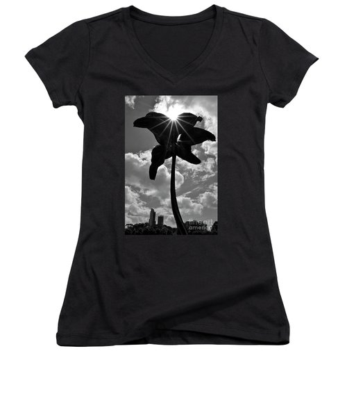 Women's V-Neck T-Shirt (Junior Cut) featuring the photograph Flower Art by Zawhaus Photography