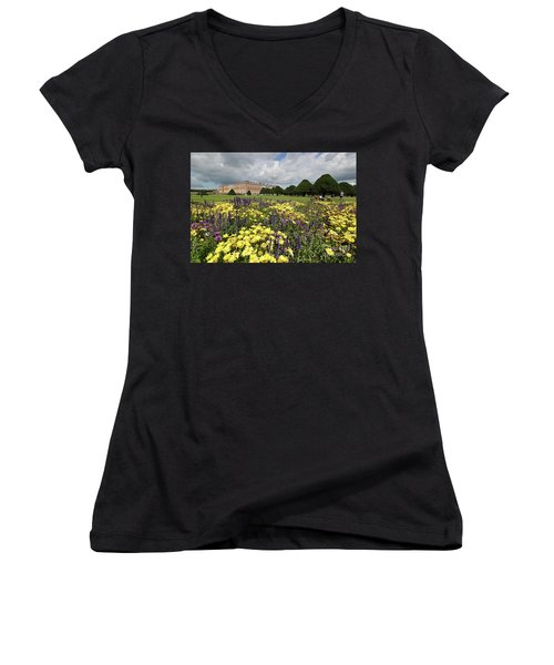 Flower Bed Hampton Court Palace Women's V-Neck (Athletic Fit)
