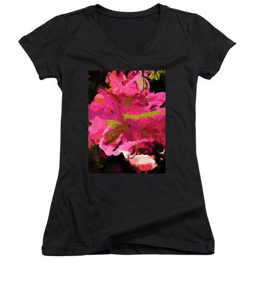 Flower Euphoria Magenta Pink Women's V-Neck (Athletic Fit)