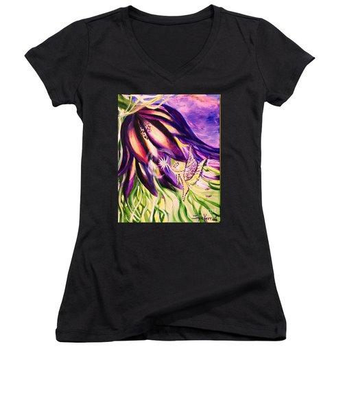 Flower Faerie Women's V-Neck T-Shirt