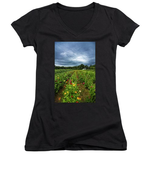 Flower Field At North Sea Farms Women's V-Neck (Athletic Fit)