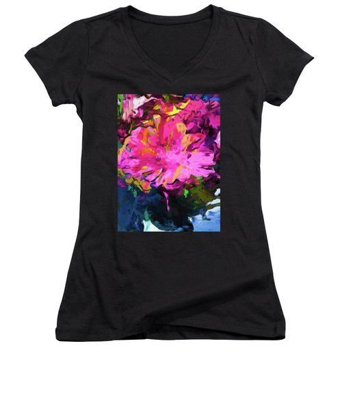 Flower Lolly Pink Yellow Women's V-Neck (Athletic Fit)