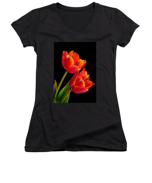 Flower Of Love Women's V-Neck T-Shirt (Junior Cut) by David and Carol Kelly