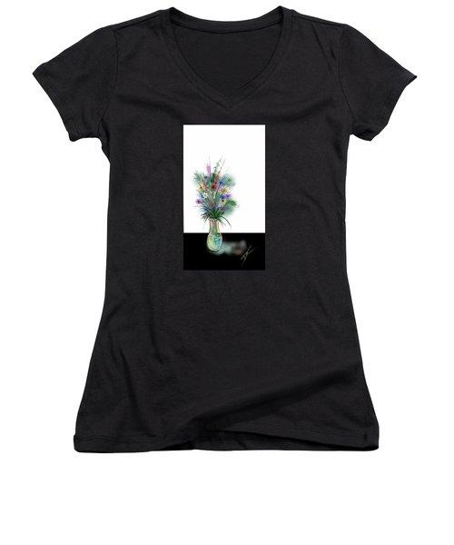 Women's V-Neck T-Shirt (Junior Cut) featuring the digital art Flower Study One by Darren Cannell