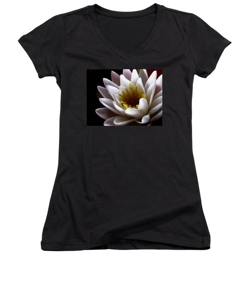 Women's V-Neck T-Shirt (Junior Cut) featuring the photograph Flower Waterlily by Nancy Griswold