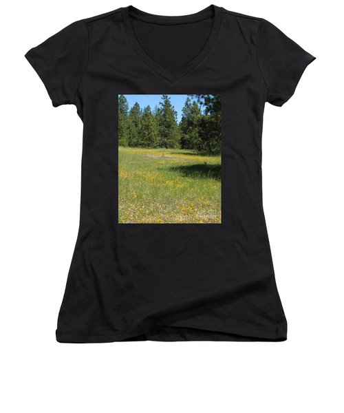 Flowers At Fish Hatchery Women's V-Neck T-Shirt