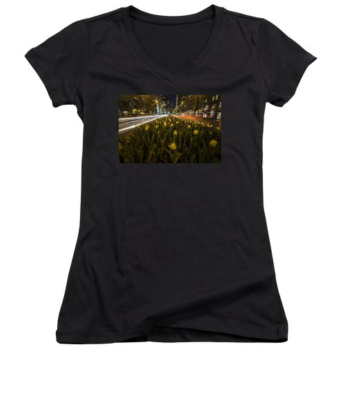 Flowers At Night On Chicago's Mag Mile Women's V-Neck