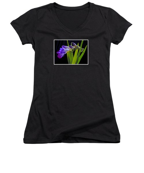 Flowers Backlite. Women's V-Neck T-Shirt (Junior Cut) by Josephine Buschman