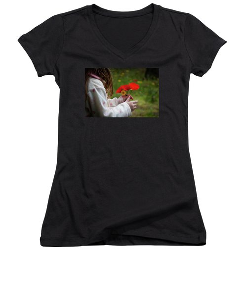 Women's V-Neck T-Shirt (Junior Cut) featuring the photograph Flowers by Bruno Spagnolo