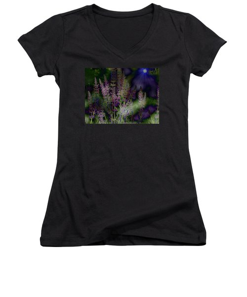 Flowers By Moonlight Women's V-Neck (Athletic Fit)