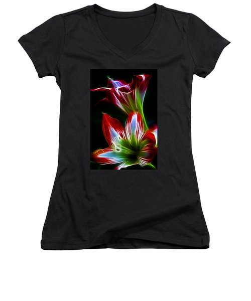 Flowers In Green And Red Women's V-Neck (Athletic Fit)