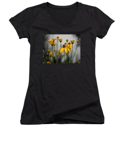 Flowers In The Rain Women's V-Neck T-Shirt (Junior Cut) by Robert Meanor