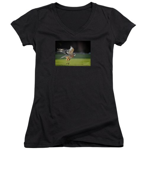 Women's V-Neck T-Shirt (Junior Cut) featuring the photograph Fly Away by Nava Thompson