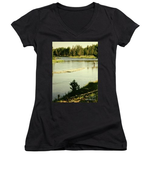 Fly Fishing Women's V-Neck (Athletic Fit)
